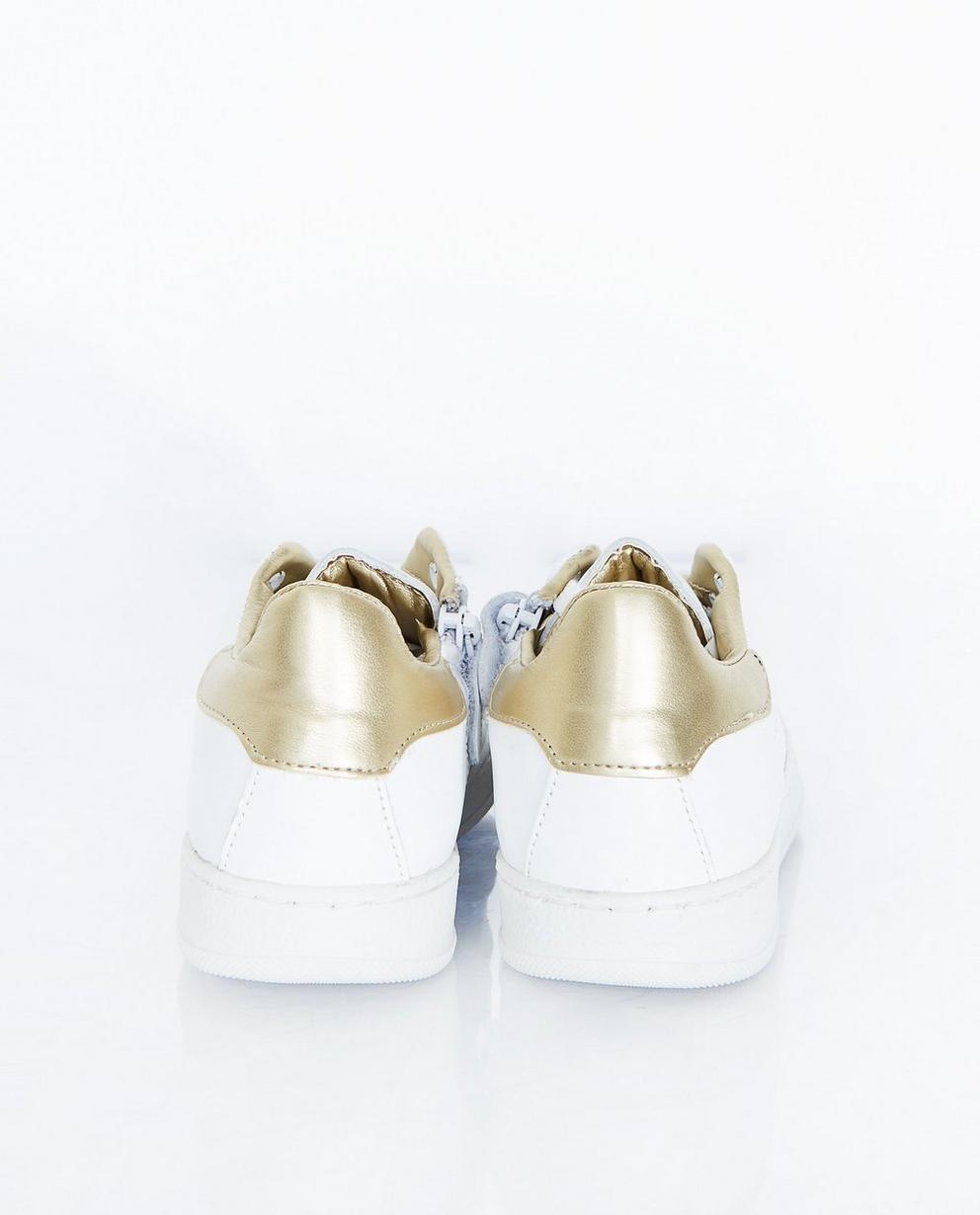 Schuhe - Weiss - Weiße Sneaker mit goldenes Detail